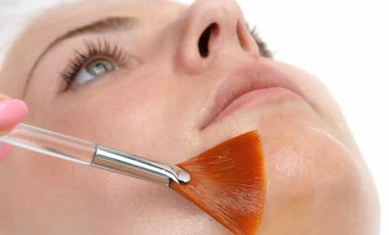 beauty salon, facial peeling mask with retinol and fruit acids